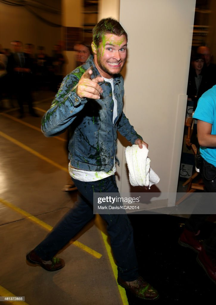 Actor <a gi-track='captionPersonalityLinkClicked' href=/galleries/search?phrase=Jack+Reynor&family=editorial&specificpeople=10130487 ng-click='$event.stopPropagation()'>Jack Reynor</a> backstage after getting slimed at Nickelodeon's 27th Annual Kids' Choice Awards held at USC Galen Center on March 29, 2014 in Los Angeles, California.