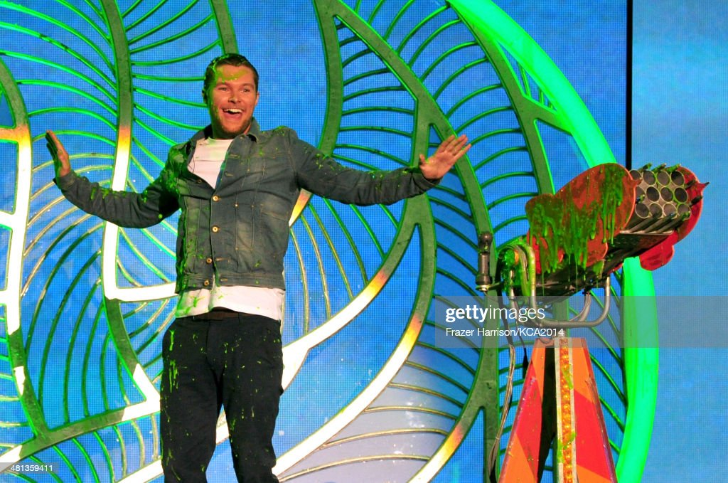 Actor <a gi-track='captionPersonalityLinkClicked' href=/galleries/search?phrase=Jack+Reynor&family=editorial&specificpeople=10130487 ng-click='$event.stopPropagation()'>Jack Reynor</a> gets slimed onstage during Nickelodeon's 27th Annual Kids' Choice Awards held at USC Galen Center on March 29, 2014 in Los Angeles, California.
