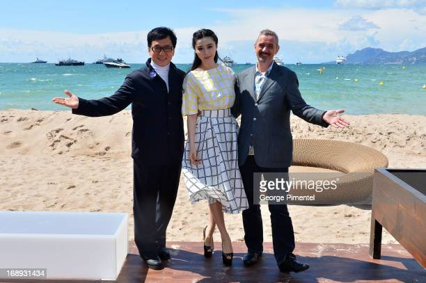 Actor Jackie Chan actress Fan Bingbing and director Sam Fell attend the 'Emperor' press junket with Jackie Chan and Fan Bingbing during The 66th...
