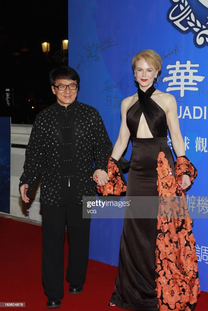 Actor Jackie Chan and actress Nicole Kidman attend the 2013 Huading Awards ceremony at The Venetian on October 7, 2013 in Macau, Macau.