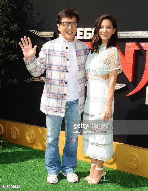 Actor Jackie Chan and actress Olivia Munn attend the premiere of 'The LEGO Ninjago Movie' at Regency Village Theatre on September 16 2017 in Westwood...