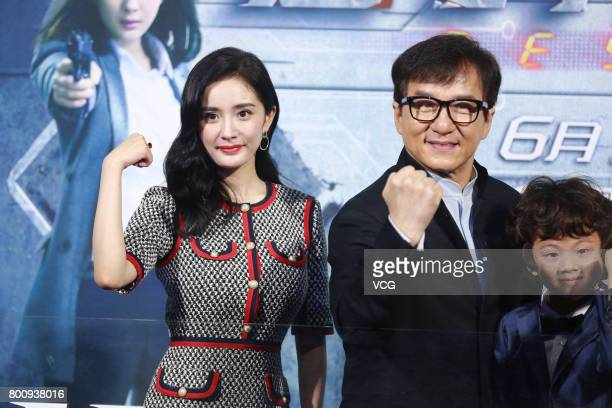 Actor Jackie Chan and actress Yang Mi attend the premiere of South Korean director Chang Yoon Hongseung's film 'Reset' on June 25 2017 in Beijing...