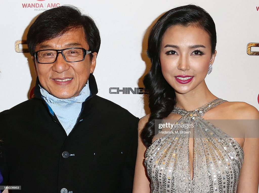 Actor <a gi-track='captionPersonalityLinkClicked' href=/galleries/search?phrase=Jackie+Chan&family=editorial&specificpeople=171455 ng-click='$event.stopPropagation()'>Jackie Chan</a> (L) and actress Yao Xintong attend the premiere of Wanda and AMC releasing's 'Chinese Zodiac' at the AMC Century City 15 theater on October 16, 2013 in Century City, California.