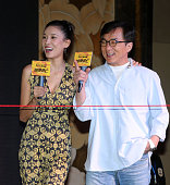 Actor Jackie Chan and actress Zhang Lanxin attend the press conference of director Renny Harlin's film 'Skiptrace' on July 14 2016 in Xi'an Shaanxi...