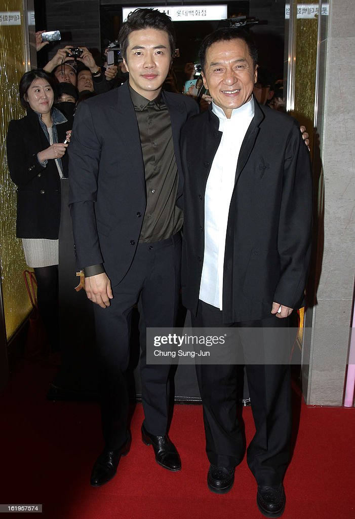 Actor <a gi-track='captionPersonalityLinkClicked' href=/galleries/search?phrase=Jackie+Chan&family=editorial&specificpeople=171455 ng-click='$event.stopPropagation()'>Jackie Chan</a> and <a gi-track='captionPersonalityLinkClicked' href=/galleries/search?phrase=Kwon+Sang-Woo&family=editorial&specificpeople=4141886 ng-click='$event.stopPropagation()'>Kwon Sang-Woo</a> attend the 'Chinese Zodiac' Seoul Premiere at Lotte Cinema on February 18, 2013 in Seoul, South Korea. <a gi-track='captionPersonalityLinkClicked' href=/galleries/search?phrase=Jackie+Chan&family=editorial&specificpeople=171455 ng-click='$event.stopPropagation()'>Jackie Chan</a> is visiting South Korea to promote his recent film 'Chinese Zodiac' which will be released in South Korea on February 28.