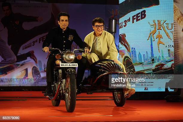 Actor Jackie Chan and Sonu Sood during promotion of his upcoming film Kung Fu Yoga at JW Marriot on January 23 2017 in Mumbai India