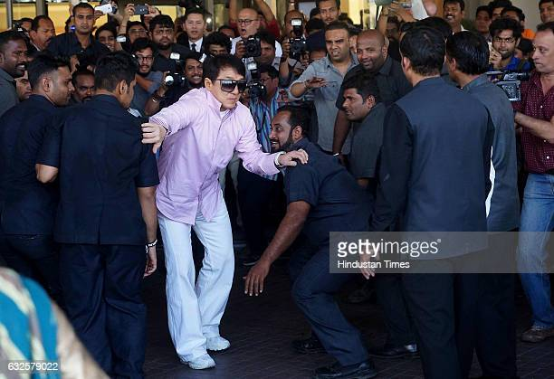 Actor Jackie Chan and Sonu Sood with cast during promotion of his upcoming film Kung Fu Yoga at JW Marriot on January 23 2017 in Mumbai India