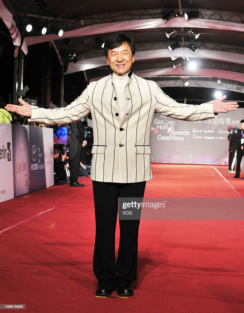 Actor <a gi-track='captionPersonalityLinkClicked' href=/galleries/search?phrase=Jackie+Chan&family=editorial&specificpeople=171455 ng-click='$event.stopPropagation()'>Jackie Chan</a> arrives at the red carpet of the 49th Golden Horse Awards at the Luodong Cultural Working House on November 24, 2012 in Ilan, Taiwan.