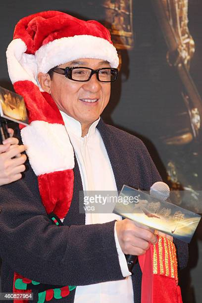 Actor Jackie Chan attends press conference of 'Dragon Blade' on December 25 2014 in Beijing China