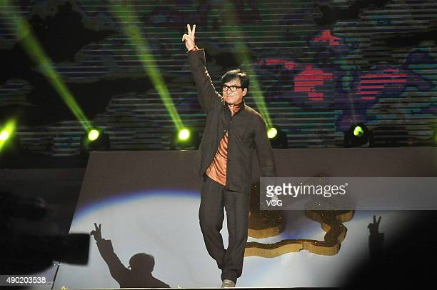 Actor Jackie Chan attends the 2nd Silk Road International Film Festival at Haixia Olympic Center Stadium on September 26 2015 in Fuzhou Fujian...