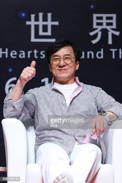 Actor Jackie Chan attends the Action Movie Forum Chinese Kung Fu Movies Win Hearts around the World during the Jackie Chan Action Movie Week of 19th...