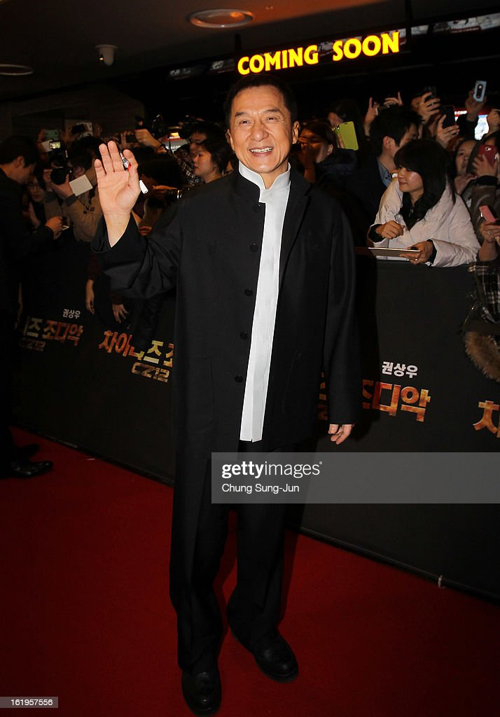 Actor <a gi-track='captionPersonalityLinkClicked' href=/galleries/search?phrase=Jackie+Chan&family=editorial&specificpeople=171455 ng-click='$event.stopPropagation()'>Jackie Chan</a> attends the 'Chinese Zodiac' Seoul Premiere at Lotte Cinema on February 18, 2013 in Seoul, South Korea. <a gi-track='captionPersonalityLinkClicked' href=/galleries/search?phrase=Jackie+Chan&family=editorial&specificpeople=171455 ng-click='$event.stopPropagation()'>Jackie Chan</a> is visiting South Korea to promote his recent film 'Chinese Zodiac' which will be released in South Korea on February 28.
