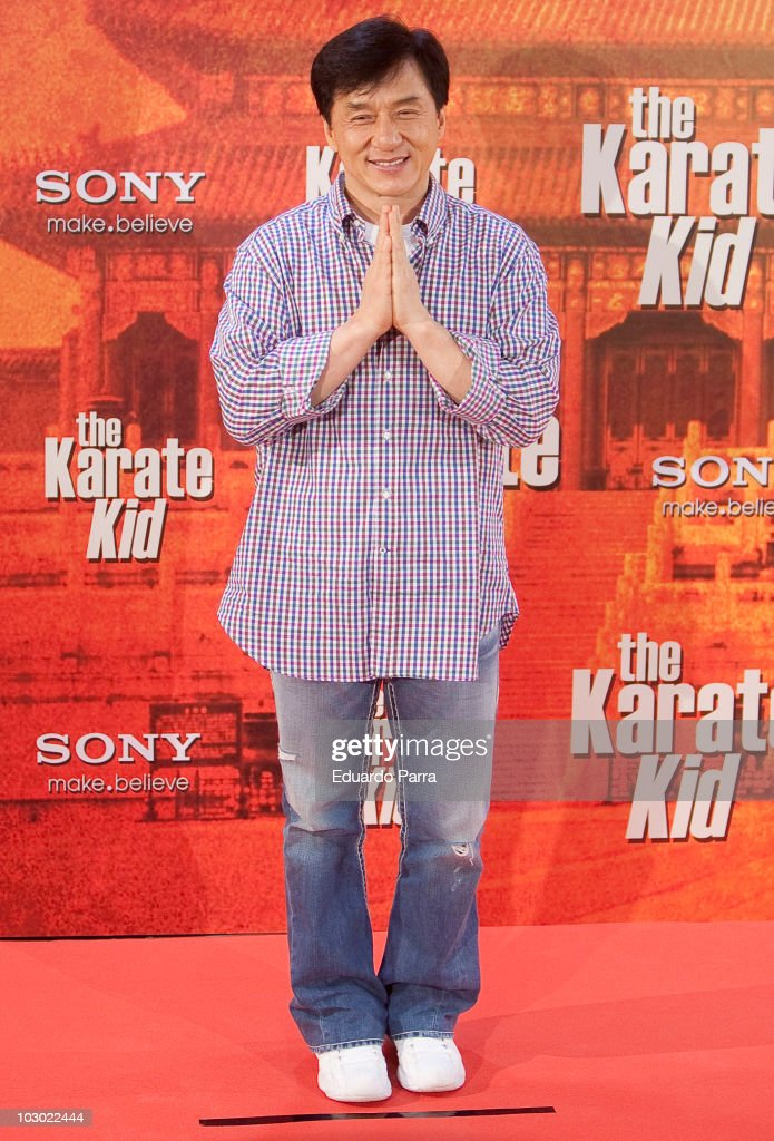 Actor <a gi-track='captionPersonalityLinkClicked' href=/galleries/search?phrase=Jackie+Chan&family=editorial&specificpeople=171455 ng-click='$event.stopPropagation()'>Jackie Chan</a> attends 'The Karate Kid' photocall at Proyecciones cinema on July 21, 2010 in Madrid, Spain.on July 21, 2010 in Madrid, Spain.