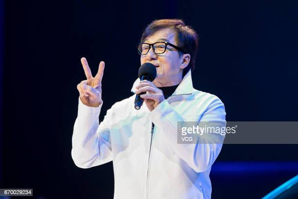 Actor Jackie Chan attends the launch ceremony of Buick's Velite 5 on April 18 2017 in Shanghai China