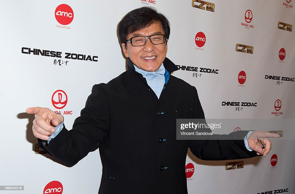 Actor <a gi-track='captionPersonalityLinkClicked' href=/galleries/search?phrase=Jackie+Chan&family=editorial&specificpeople=171455 ng-click='$event.stopPropagation()'>Jackie Chan</a> attends the Los Angeles premiere of 'Chinese Zodiac' at AMC Century City 15 theater on October 16, 2013 in Century City, California.