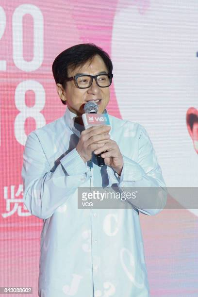 Actor Jackie Chan attends the MYD 2018 collection preview on September 5 2017 in Beijing China