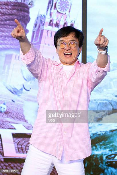 Actor Jackie Chan attends the press conference of Finnish director Renny Harlin's film 'Skiptrace' on May 22 2016 in Beijing China