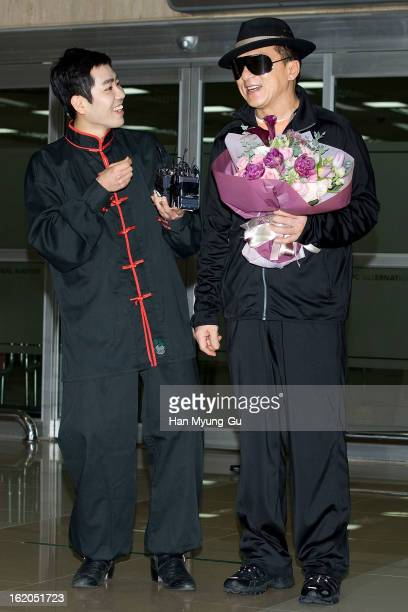 Actor Jackie Chan is seen upon arrival at Gimpo International Airport on February 18 2013 in Seoul South Korea Jackie Chan is visiting South Korea to...