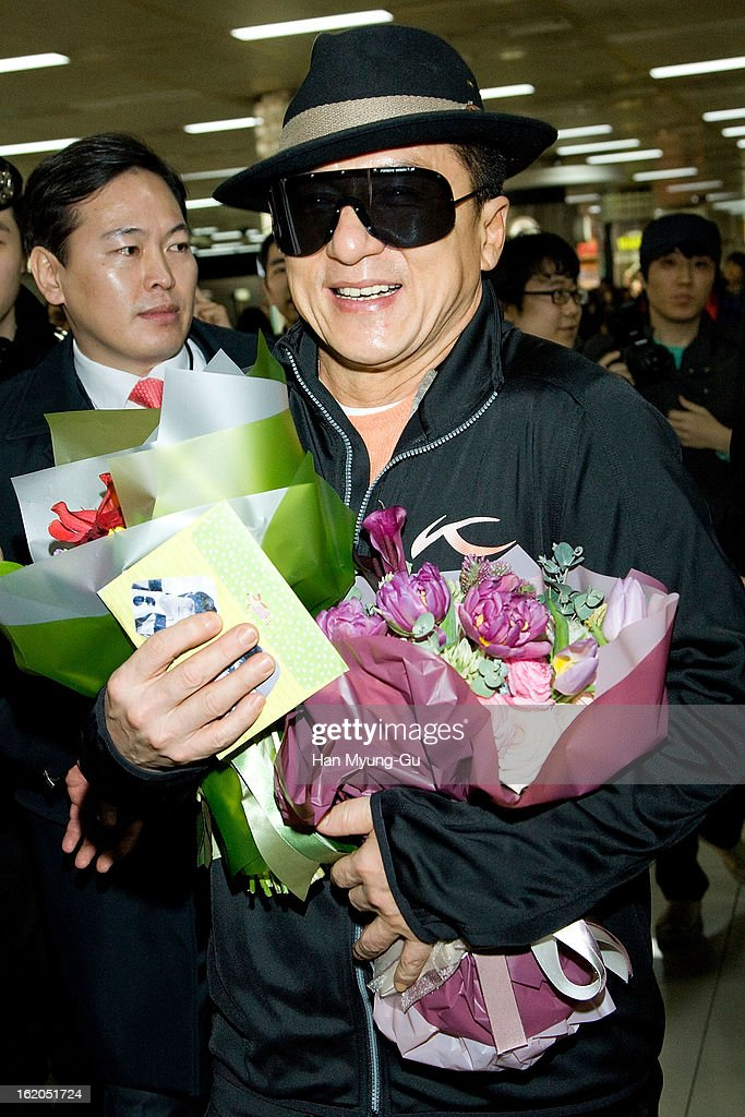 Actor <a gi-track='captionPersonalityLinkClicked' href=/galleries/search?phrase=Jackie+Chan&family=editorial&specificpeople=171455 ng-click='$event.stopPropagation()'>Jackie Chan</a> is seen upon arrival at Gimpo International Airport on February 18, 2013 in Seoul, South Korea. <a gi-track='captionPersonalityLinkClicked' href=/galleries/search?phrase=Jackie+Chan&family=editorial&specificpeople=171455 ng-click='$event.stopPropagation()'>Jackie Chan</a> is visiting South Korea to promote his recent film 'Chinese Zodiac' which will be released on February 28 in South Korea.