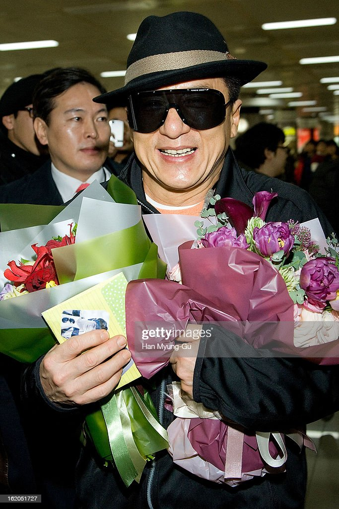 Actor Jackie Chan is seen upon arrival at Gimpo International Airport on February 18, 2013 in Seoul, South Korea. Jackie Chan is visiting South Korea to promote his recent film 'Chinese Zodiac' which will be released on February 28 in South Korea.