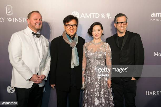 Actor Jackie Chan Paisy Ho and amfAR Chairman of the Board Kenneth Cole pose at the red carpet at the amfAR Hong Kong 2017 on March 25 2017 in Hong...