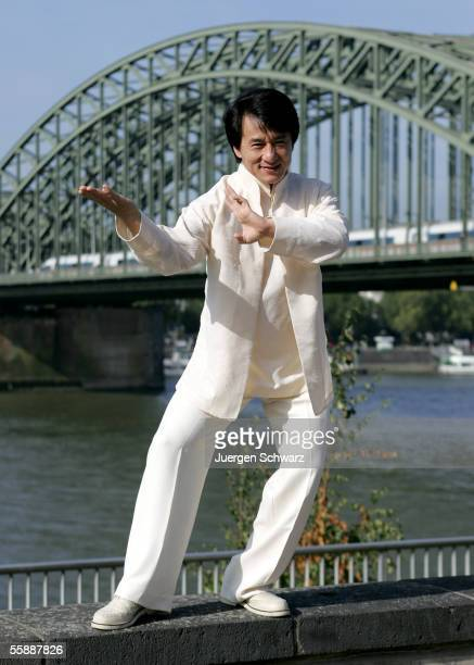 Actor Jackie Chan poses in front of a river Rhine bridge prior to tonight's premiere of his new film 'New Police Story' on October 10 2005 in Cologne...