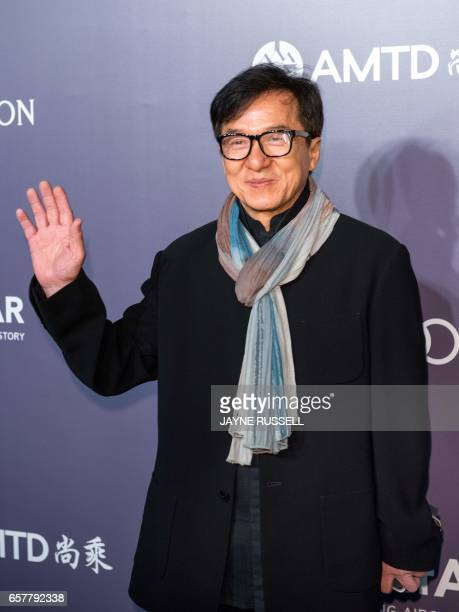 Actor Jackie Chan poses on the red carpet during the 2017 American Foundation for AIDS Research Hong Kong gala at Shaw Studios in Hong Kong on March...