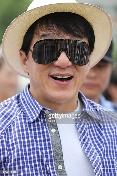 Actor Jackie Chan visits the Wuhan Institute of Design and Sciences as Jackie Chan Movie and Media College opens on May 20 2015 in Wuhan China