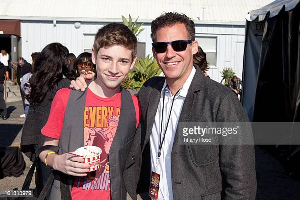 Actor Jackson Pace and Founder and CEO of GBK Productions Gavin Keilly attend the GBK Cartoon Network's Official Backstage Thank You Lounge at Barker...