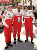 Actor Jackson Rathbone actor Jeremy Sisto and actor Jesse Metcalfe participate in the 37th Annual Toyota Pro/Celebrity Race Qualifying Day held on...