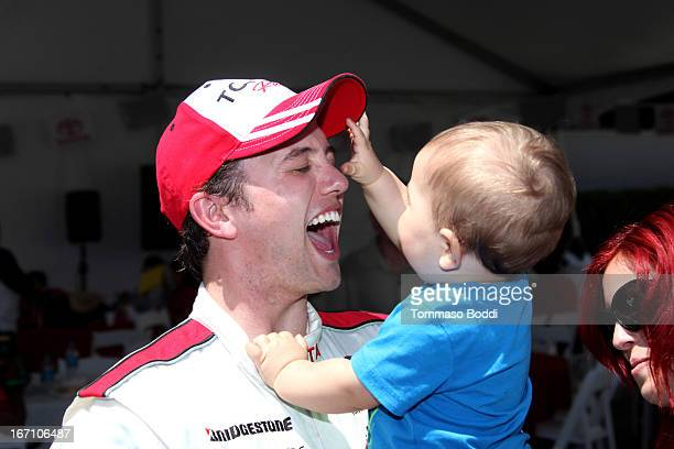 Actor Jackson Rathbone and son Monroe Jackson Rathbone VI attend the 37th Annual Toyota ProCelebrity Race on April 20 2013 in Long Beach California