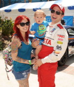 Actor Jackson Rathbone girlfriend Sheila Hafsadi and son Monroe Jackson Rathbone attend the 37th Annual Toyota Pro/Celebrity Race on April 20 2013 in...
