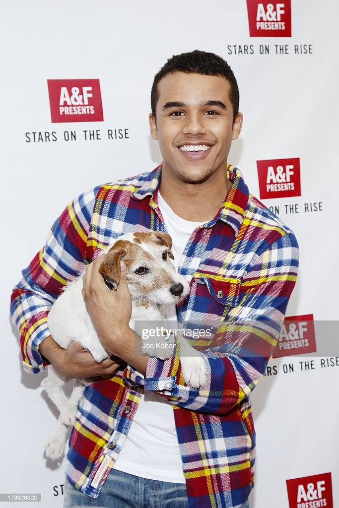 Actor Jacob Artist and Uggie attend Abercrombie & Fitch Co. presents their 2013 'Stars On The Rise!' at The Grove on July 11, 2013 in Los Angeles, California.