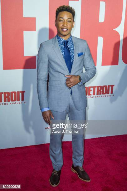 Actor Jacob Latimore arrives at the premiere for 'Detroit' at the Fox Theater on July 25 2017 in Detroit Michigan