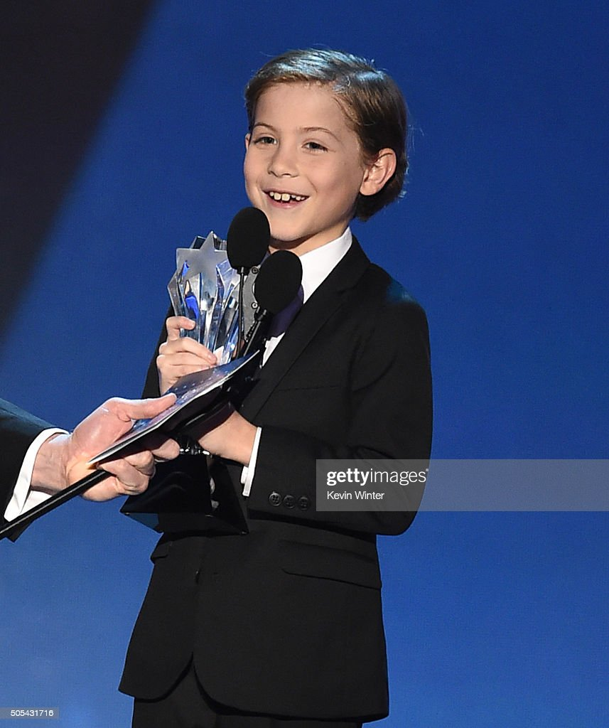 Actor Jacob Tremblay accepts Best Young Actor award onstage during the 21st Annual Critics' Choice Awards at Barker Hangar on January 17 2016 in...