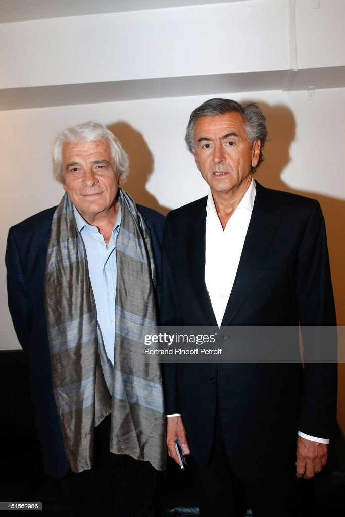 Actor <a gi-track='captionPersonalityLinkClicked' href=/galleries/search?phrase=Jacques+Weber&family=editorial&specificpeople=672880 ng-click='$event.stopPropagation()'>Jacques Weber</a> and writer Bernard-Henri Levy present the theater piece 'Hotel Europe' during the 'Vivement Dimanche' French TV Show at Pavillon Gabriel on September 3, 2014 in Paris, France.