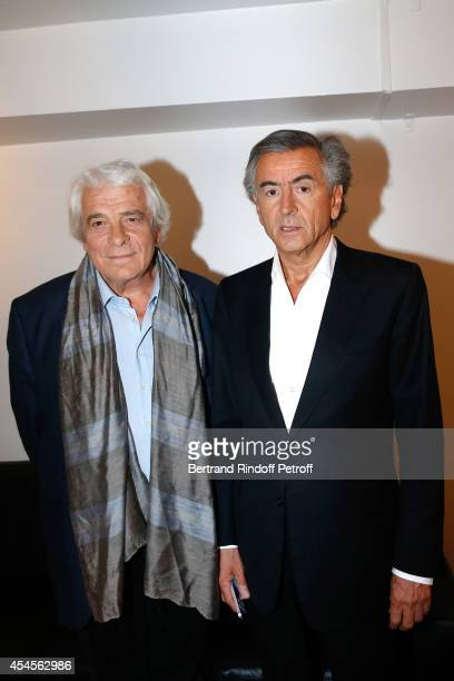 Actor Jacques Weber and writer BernardHenri Levy present the theater piece 'Hotel Europe' during the 'Vivement Dimanche' French TV Show at Pavillon...