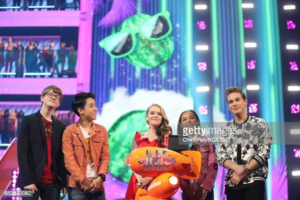 Actor Jade Pettyjohn and fellow cast members of 'School of Rock' speak onstage at Nickelodeon's 2017 Kids' Choice Awards at USC Galen Center on March...