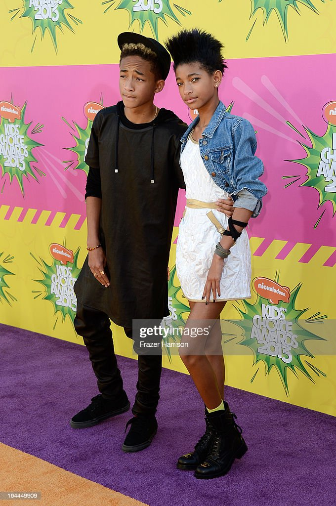 Actor <a gi-track='captionPersonalityLinkClicked' href=/galleries/search?phrase=Jaden+Smith&family=editorial&specificpeople=709174 ng-click='$event.stopPropagation()'>Jaden Smith</a> and actress <a gi-track='captionPersonalityLinkClicked' href=/galleries/search?phrase=Willow+Smith&family=editorial&specificpeople=869488 ng-click='$event.stopPropagation()'>Willow Smith</a> arrive at Nickelodeon's 26th Annual Kids' Choice Awards at USC Galen Center on March 23, 2013 in Los Angeles, California.