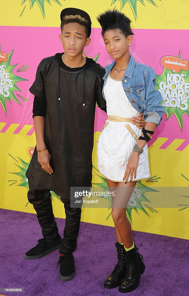 Actor Jaden Smith and sister Willow Smith arrive at Nickelodeon's 26th Annual Kids' Choice Awards at USC Galen Center on March 23, 2013 in Los Angeles, California.