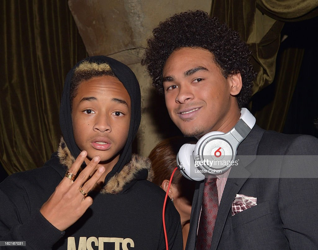 Actor Jaden Smith and Trey Smith aka DJ AcE attend Vanity Fair and L'Oréal Paris-hosted D.J. Night with Freida Pinto in support of 10 x 10 and 'Girl Rising' at Teddy's at The Hollywood Roosevelt Hotel on February 19, 2013 in Los Angeles, California.