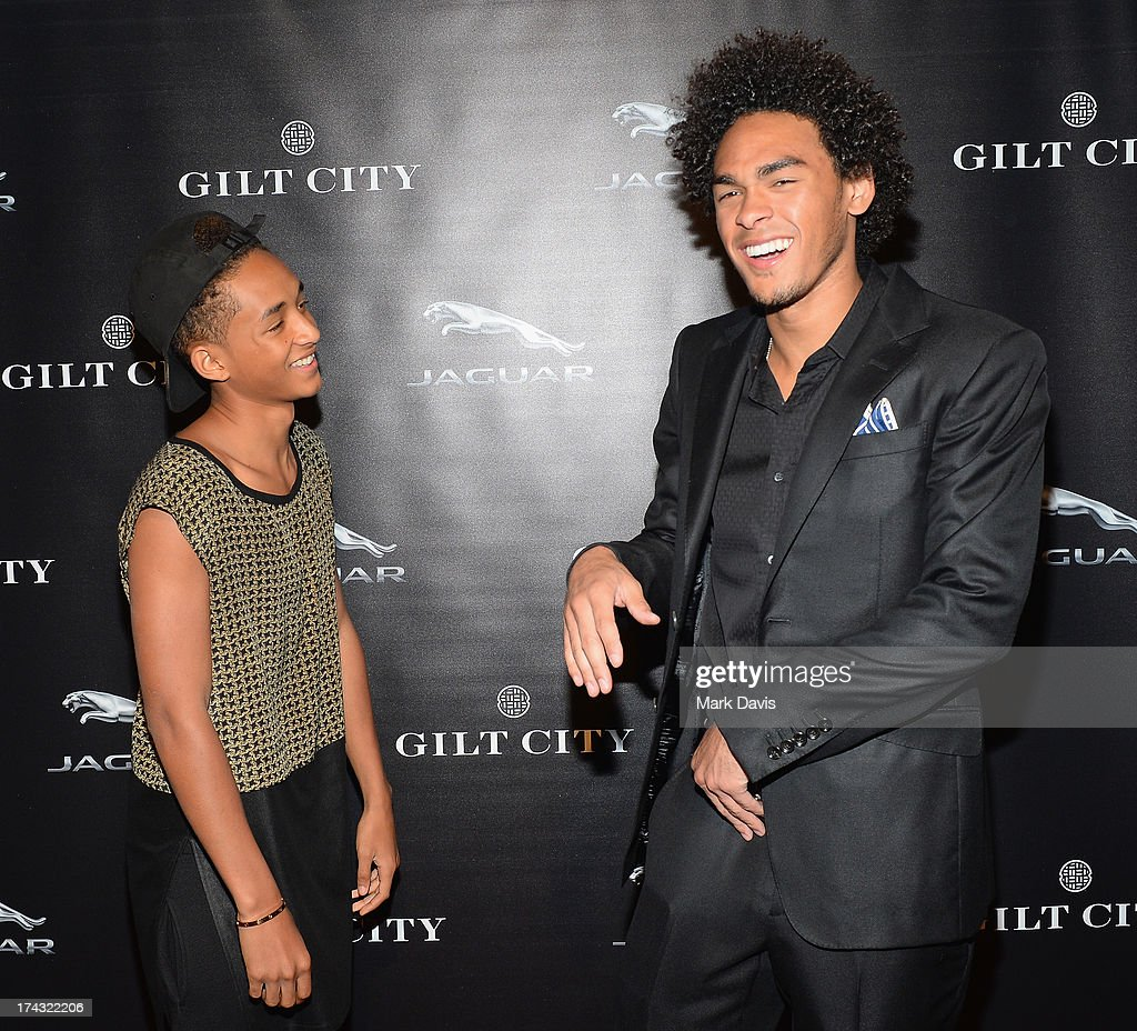 Actor <a gi-track='captionPersonalityLinkClicked' href=/galleries/search?phrase=Jaden+Smith&family=editorial&specificpeople=709174 ng-click='$event.stopPropagation()'>Jaden Smith</a> (L) and Trey Smith pose at the 'Jaguar and Gilt celebrate #MyTurnToJag' held at Siren Studios on July 23, 2013 in Hollywood, California.
