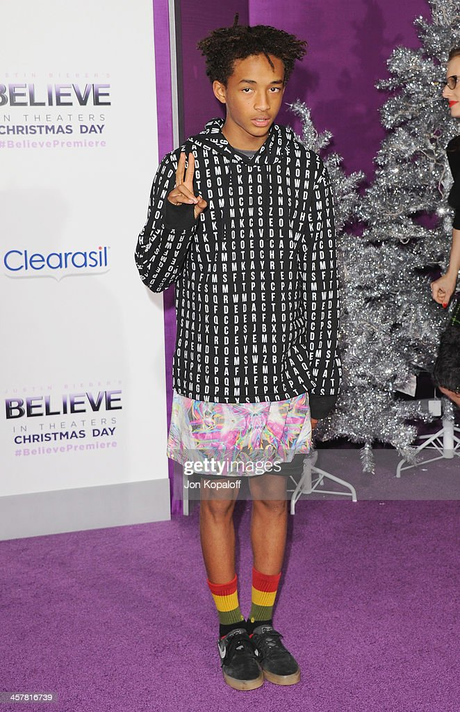 Actor <a gi-track='captionPersonalityLinkClicked' href=/galleries/search?phrase=Jaden+Smith&family=editorial&specificpeople=709174 ng-click='$event.stopPropagation()'>Jaden Smith</a> arrives at the Los Angeles Premiere 'Justin Bieber's Believe' at Regal Cinemas L.A. Live on December 18, 2013 in Los Angeles, California.