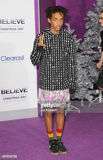 Actor Jaden Smith arrives at the Los Angeles Premiere 'Justin Bieber's Believe' at Regal Cinemas LA Live on December 18 2013 in Los Angeles California