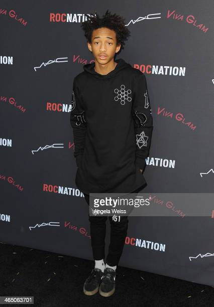 Actor Jaden Smith arrives at the Roc Nation PreGrammy brunch presented by MAC Viva Glam at a private residency on January 25 2014 in Los Angeles...