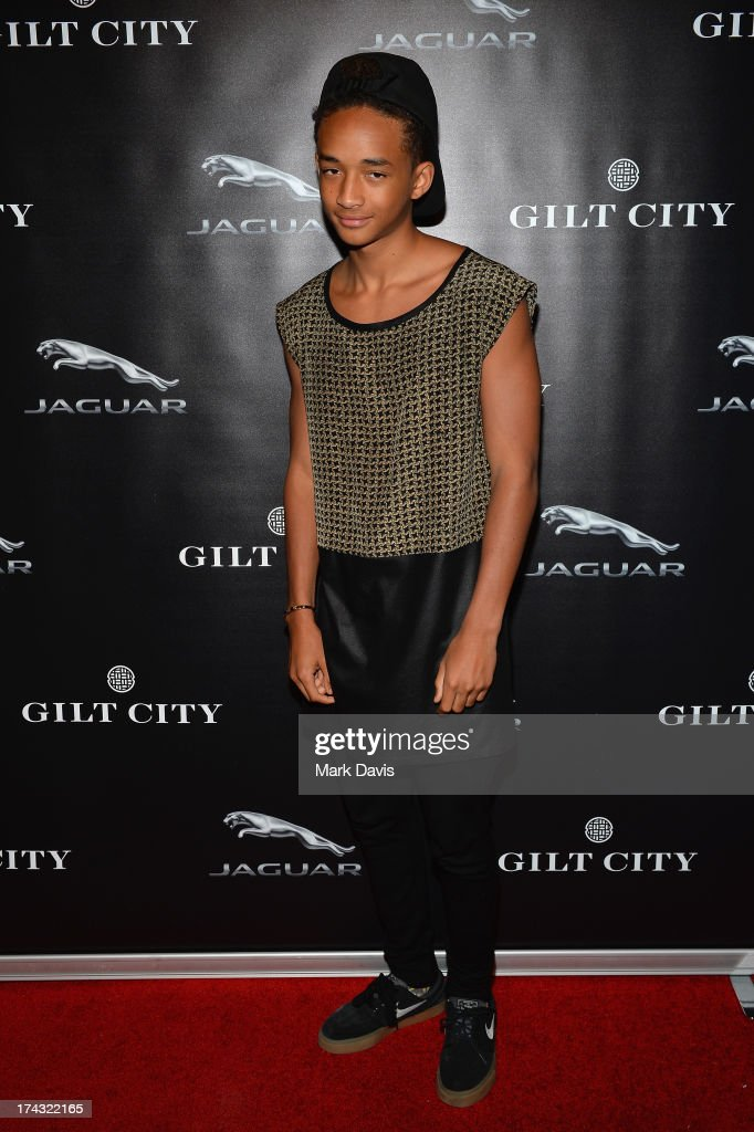 Actor <a gi-track='captionPersonalityLinkClicked' href=/galleries/search?phrase=Jaden+Smith&family=editorial&specificpeople=709174 ng-click='$event.stopPropagation()'>Jaden Smith</a> poses at the 'Jaguar and Gilt celebrate #MyTurnToJag' held at Siren Studios on July 23, 2013 in Hollywood, California.