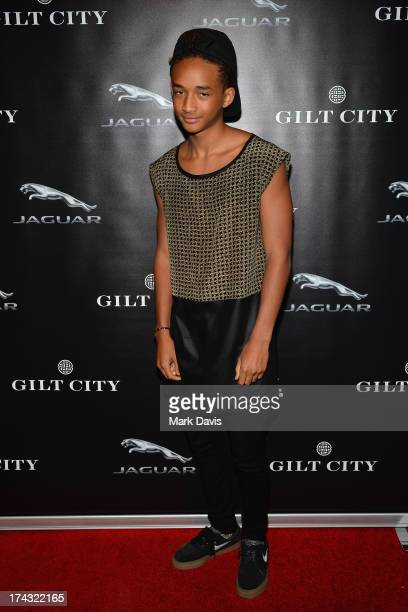 Actor Jaden Smith poses at the 'Jaguar and Gilt celebrate #MyTurnToJag' held at Siren Studios on July 23 2013 in Hollywood California