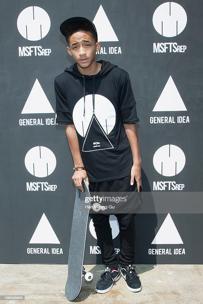 Actor <a gi-track='captionPersonalityLinkClicked' href=/galleries/search?phrase=Jaden+Smith&family=editorial&specificpeople=709174 ng-click='$event.stopPropagation()'>Jaden Smith</a> poses for media during a promotional event for the 'General Idea' Gangnam Store on May 8, 2013 in Seoul, South Korea.
