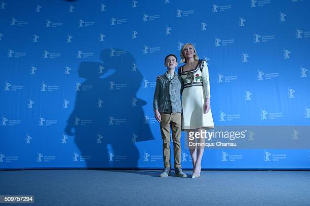 Actor Jaeden Lieberher and actress Kirsten Dunst attend the 'Midnight Special' photo call during the 66th Berlinale International Film Festival...