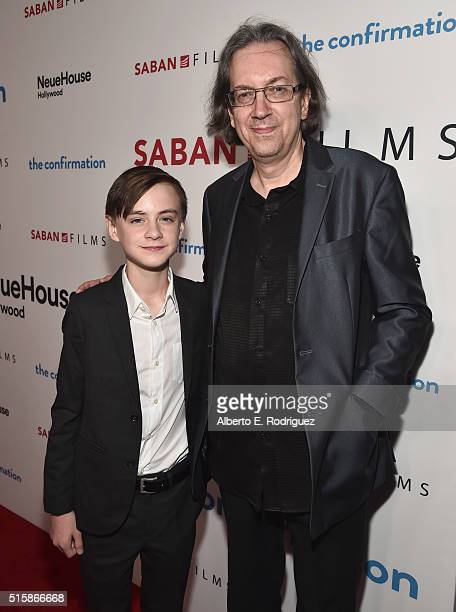 Actor Jaeden Lieberher and director/writer Bob Nelson attend the premiere of Saban Films' 'The Confirmation' on March 15 2016 in Los Angeles...